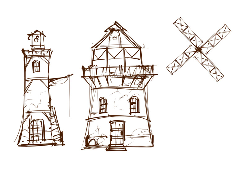 game environment house concept sketch