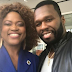 Queen Blessing Itua pictured with 50cent and Chilli Of TLC on Hollywood movie set