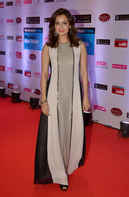 Dia Mirza in Shiny Sleeveless Maxi Dress by Rohit Gandhi & Rahul
