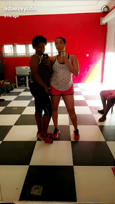 Pregnant Adaeze Yobo shows off her baby bump in new gym workout video (photos)