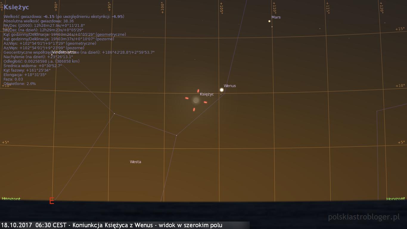18.10.2017  06:30 CEST - Koniunkcja Księżyca z Wenus - widok w szerokim polu