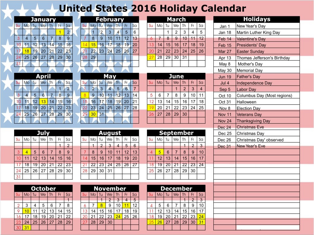 Calendar With Holidays Usa : Calendar usa holidays
