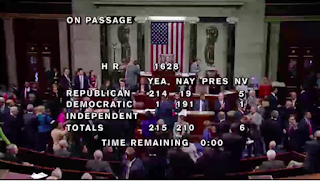 Vote totals on passage of the American Health Care Act