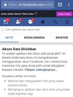 setting akses aplikasi di facebook