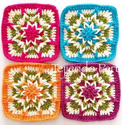 Crochet star-motif, Square crochet motif