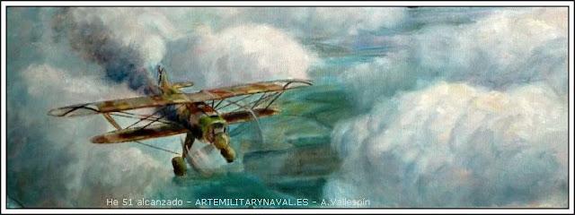 Oleo de un Heinkel He 51 alcanzado en vuelo