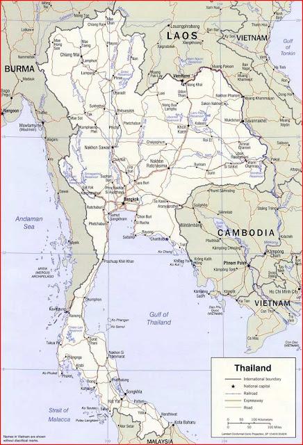 Gambar Peta politik Thailand