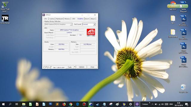 Tampilan CPU Z di bagian Graphics