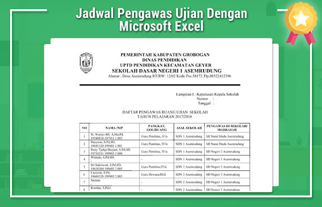 Jadwal Pengawas Ujian Dengan Microsoft Excel