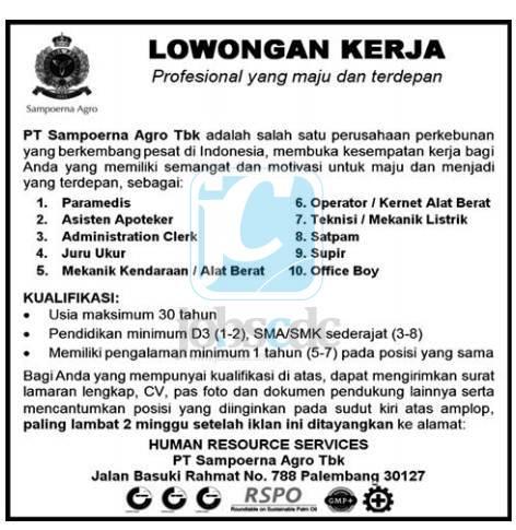 Lowongan Kerja Di Palembang Tahun 2013 Lowongan Kerja Terbaru Di Medan Tahun 2016 Lowongan Kerja Pt Sampoerna Agro Tbk Mei Juni 2013 Terbaru Juni