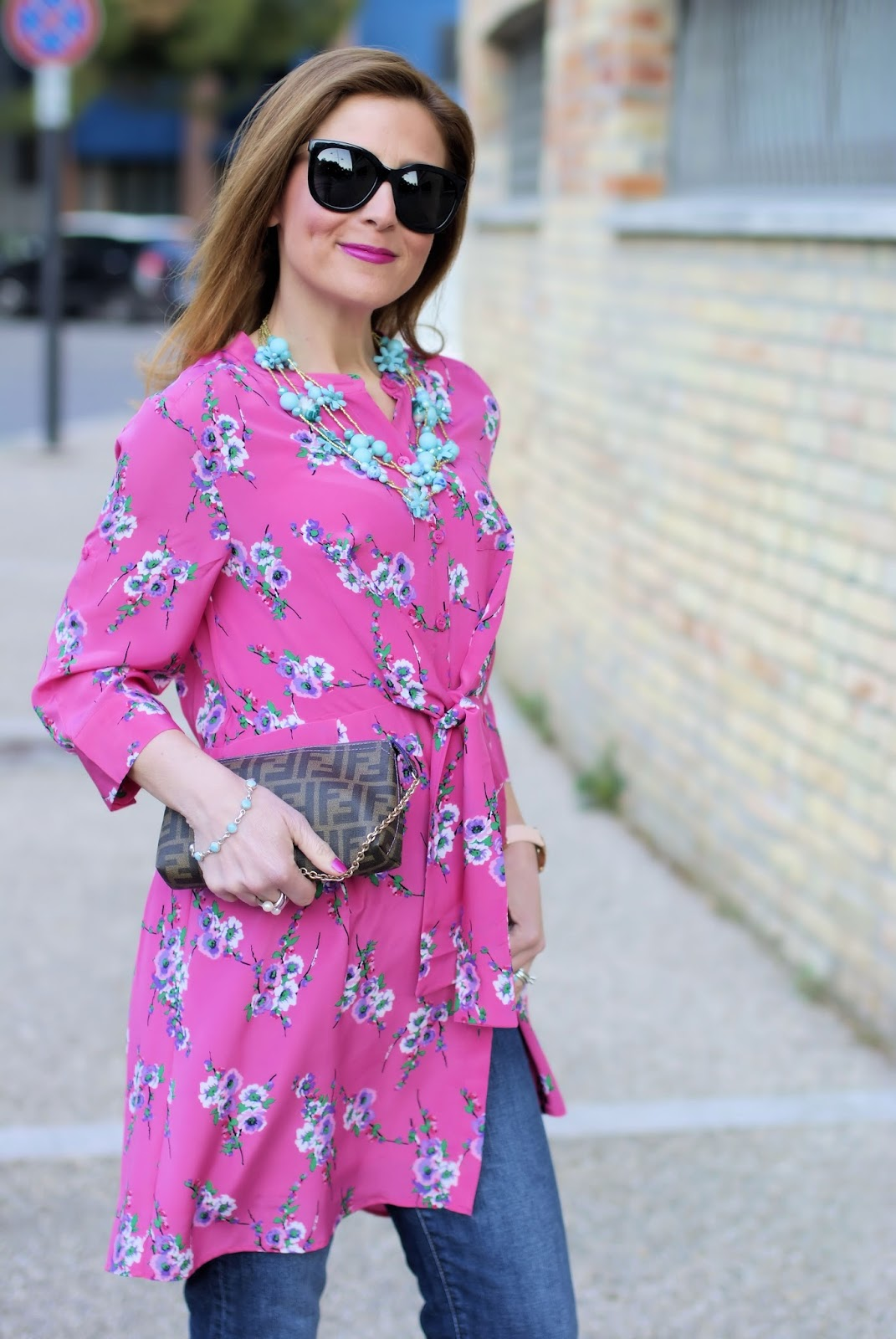 How to wear a dress over jeans with Metisu dress and Valentino Rockstud pumps on Fashion and Cookies fashion blog, fashion blogger style