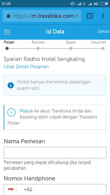 langkah pesan hotel di traveloka