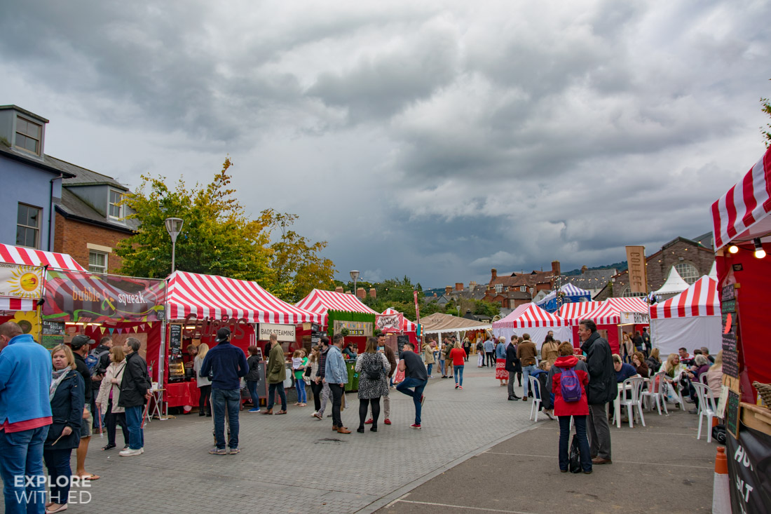 Food and drink stalls at Abergavenny Food Festival