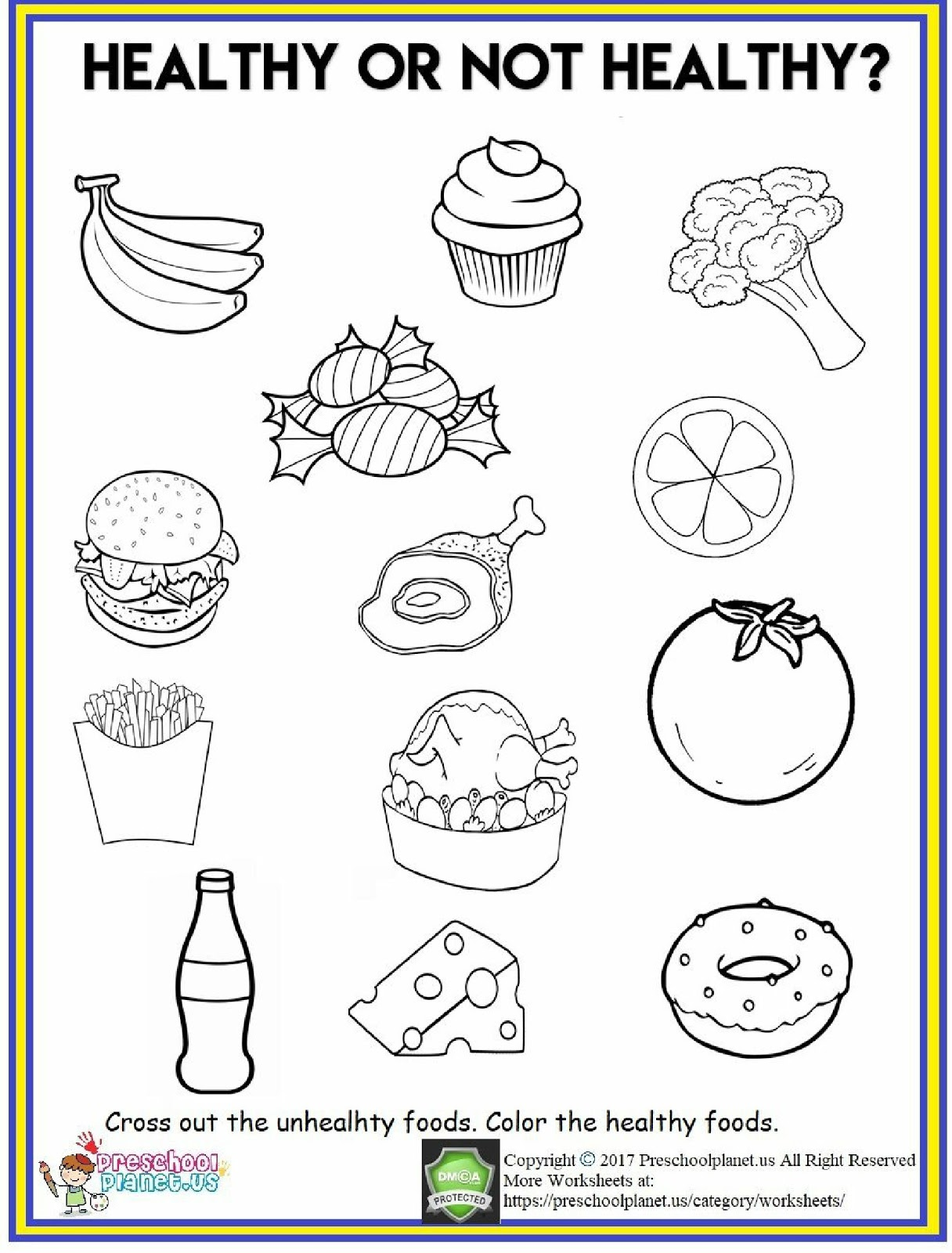 Healthy Food Worksheet 2019 - Malvorlage