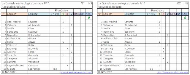 2,1 millones en #LaQuiniela, la mejor liga de fútbol del mundo: en España. juega YA!.  Probabilidades para jornada 4: 10 de septiembre de 2017