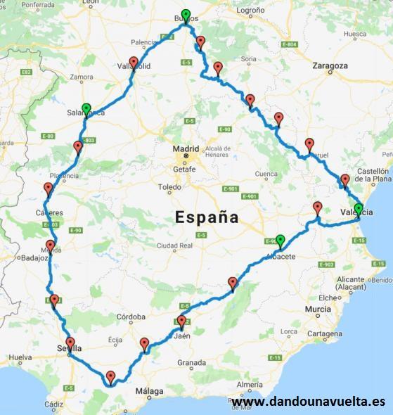 Recorrido de la vuelta a España cicloturista
