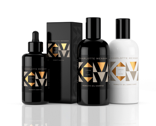 Charlotte Mensah Manketti Oil Collection On Packaging Of