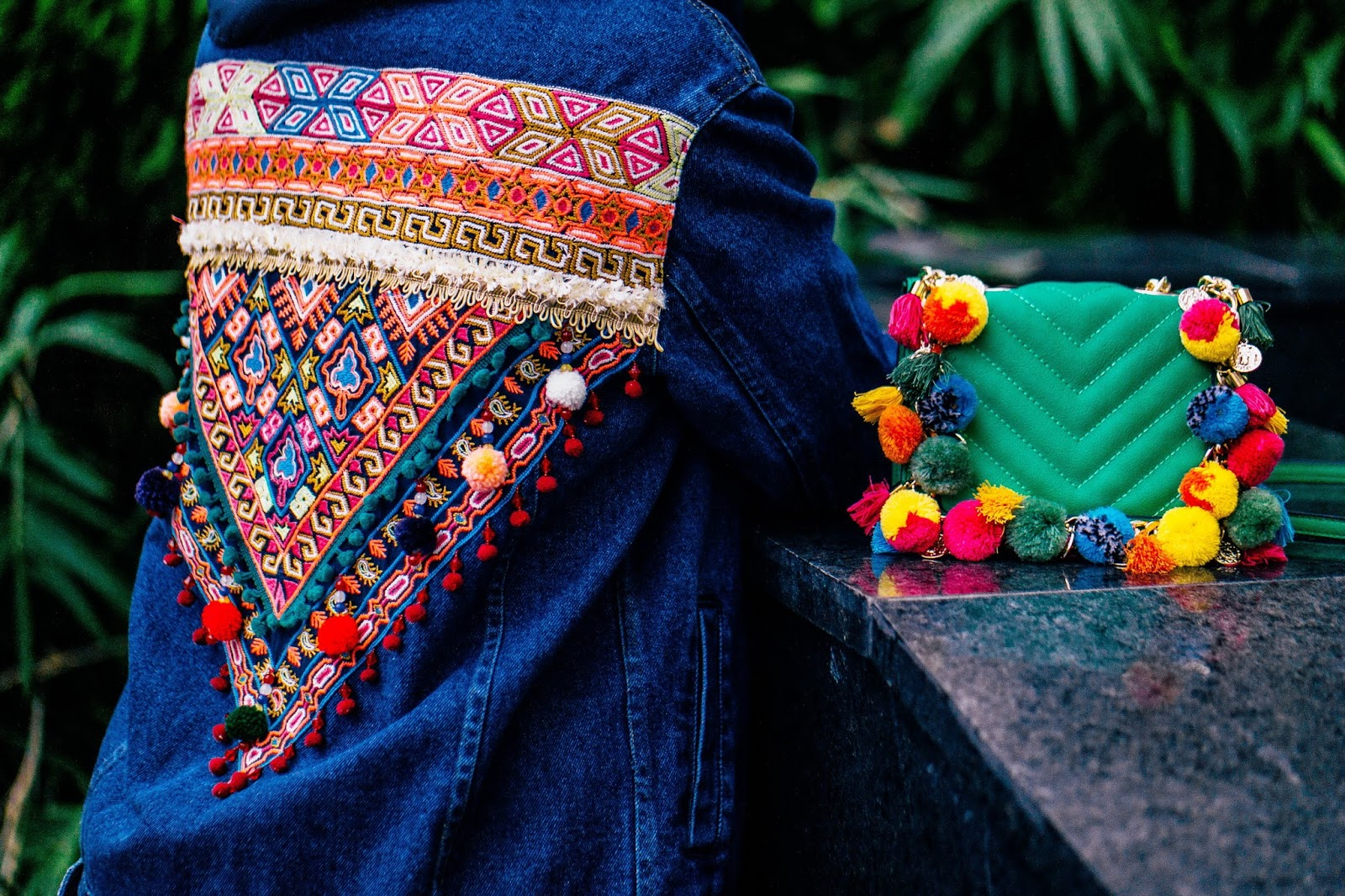 Bohemian Denim Jacket with Pom Poms