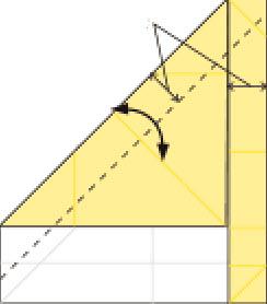Bước 6: Gấp tạo nếp gấp cạnh giấy tại vị trí nét đứt
