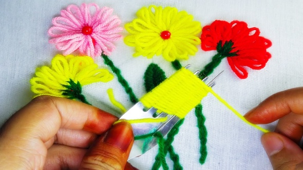 telares flores, labores bordados, flores lana-hilos, manualidades