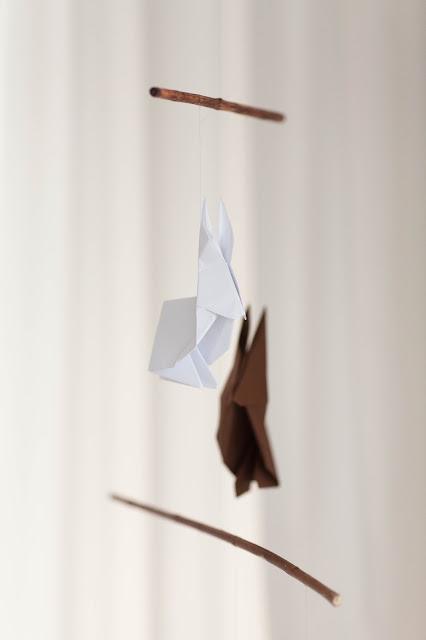 selbstgemachtes Hasen Origami Osterdeko