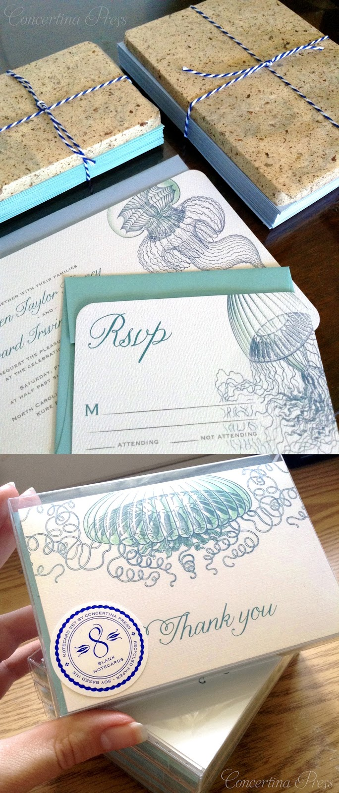 Jellyfish Wedding Invitations and Thank You Notes for an Aquarium Wedding