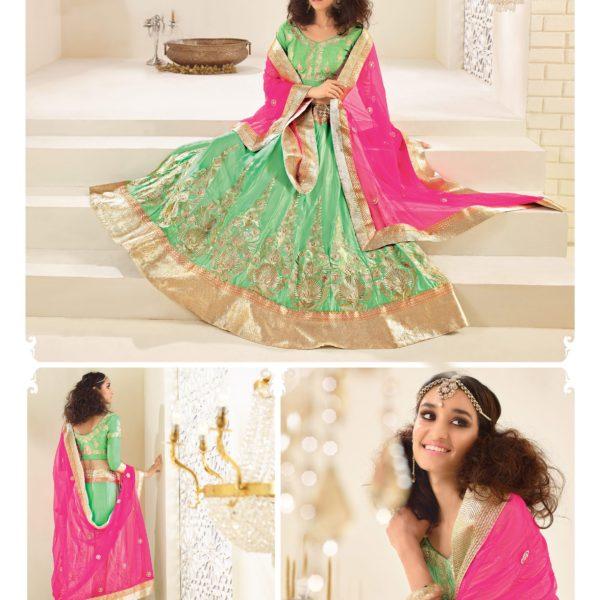 Green Banarasi Silk Embroidered Designer Lehenga Choli