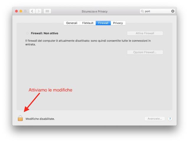 impostazioni sicurezza e privacy mac