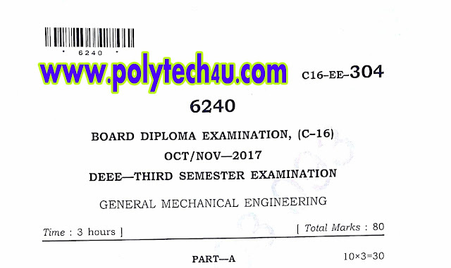 GENERAL MECHANICAL ENGINEERING QUESTION PAPER C-16 EEE OCT/NOV-2017