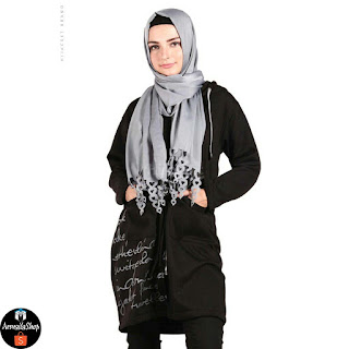 Jaket Hijaber Hijacket Urbanashion RAVEN BLACK Hijacket Casual