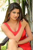 Poojitha sizzling in red dress-thumbnail-4