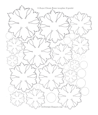 Free ornate flower template - from mel stampz