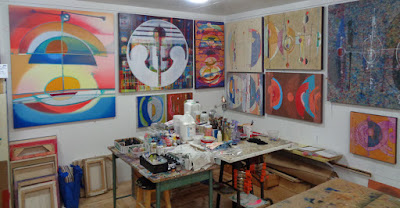 colourful paintings in my studio verna vogel steel sky woman
