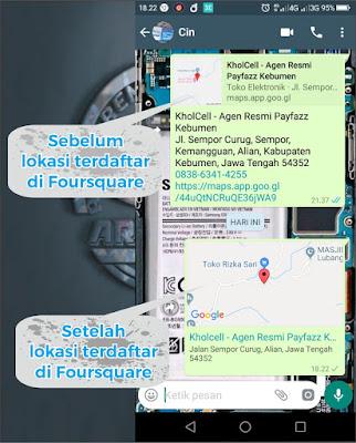 Share lokasi ke WhatsApp