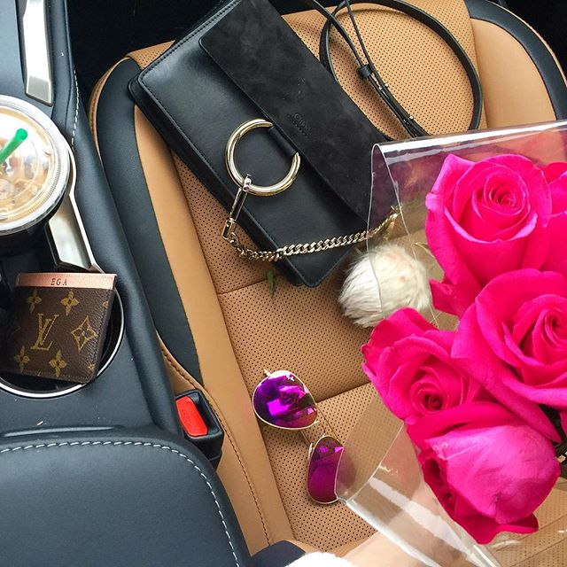 chloe faye bag black, pink rayban aviator, lexus NX car, louis vuitton card holder with monogram