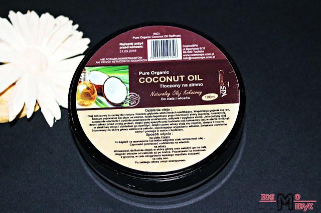 CosmoSpa, Pure Organic Coconut Oil, naturalny olej kokosowy tłoczony na zimno - rafinowany.