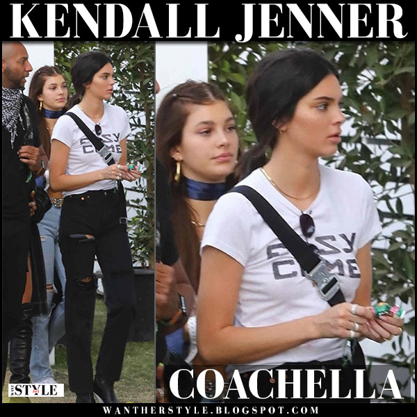 Kendall Jenner in white slogan t-shirt and black jeans coachella festival model style april 15