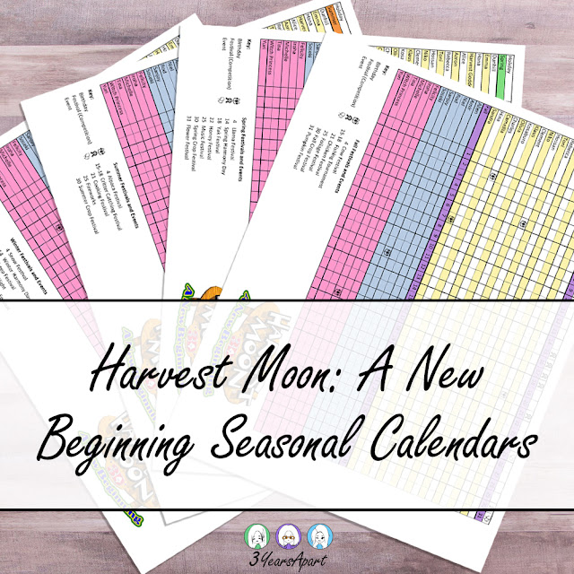 3 Years Apart - Harvest Moon: A New Beginning Seasonal Calendars Free Printable. Birthday, Festivals, Events