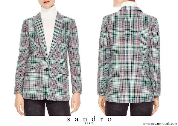Queen Letizia wore Sandro Tribu Houndstooth Plaid Single-button Blazer