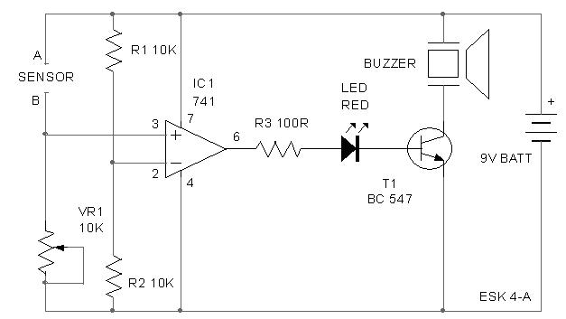 Rain detector with Buzzer circuit schematic