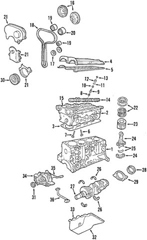 2003 Ford Focus Zx3 >> Component Diagrams - Ford Focus 2003 DOHC Engine Block Parts