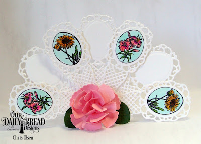 Our Daily Bread Designs Stamp  Set: Lovely Flower, Custom Dies: Fancy Fan,  Roses, Rose Leaves