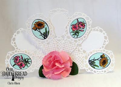 Our Daily Bread Designs Stamp  Set: Lovely Flower, Custom Dies: Fancy Fan,  Roses, Rose Leaves