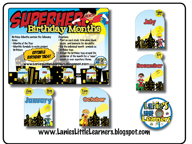Birthday Months {Superhero Theme}