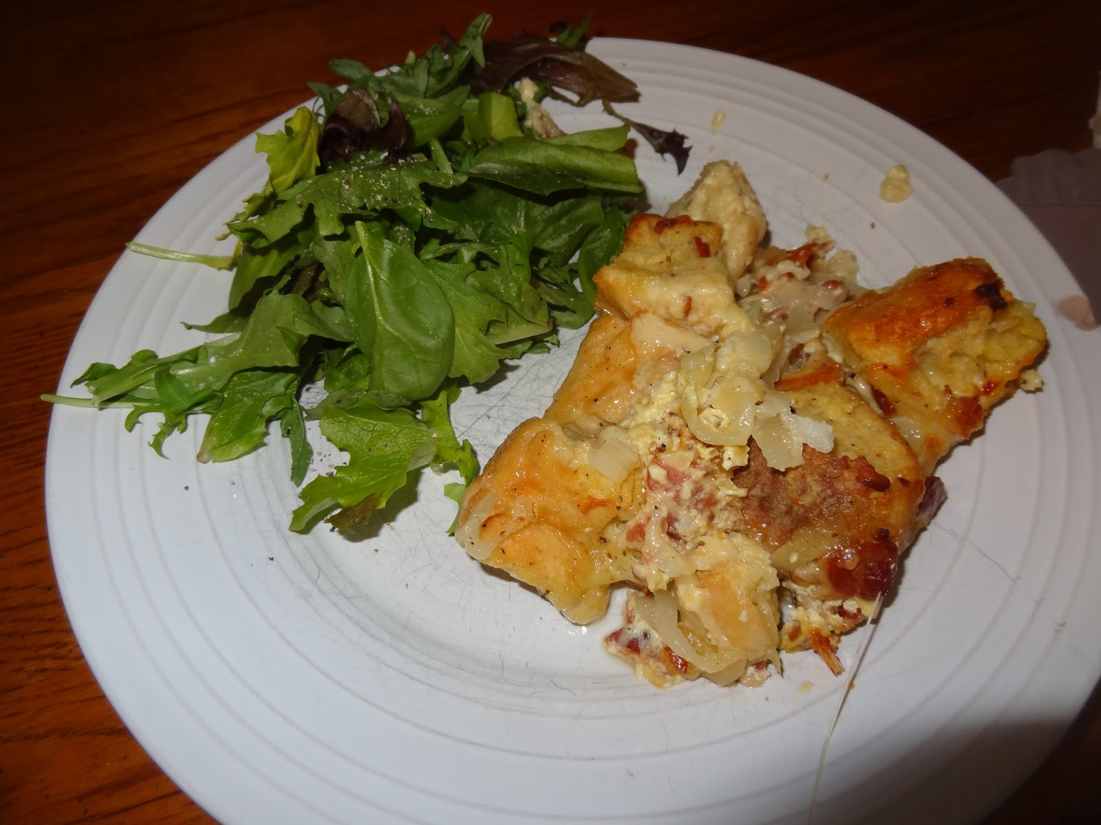 Onion, Bacon, And Swiss Cheese Strata Recipe — Dishmaps
