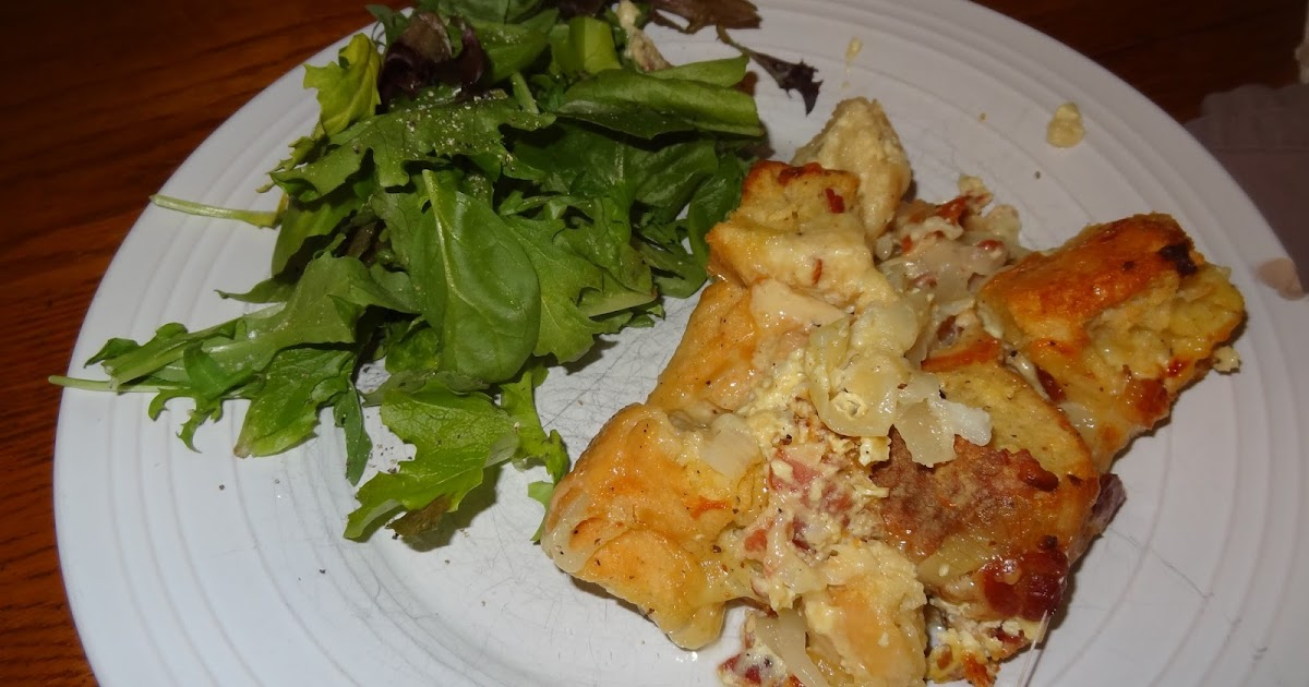 Papa's Whimsy: Onion, Bacon, and Swiss Cheese Strata