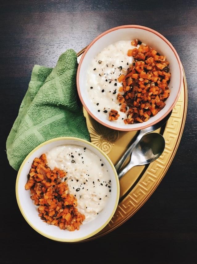 Garlic Carrot Buttermilk Savoury Oatmeal