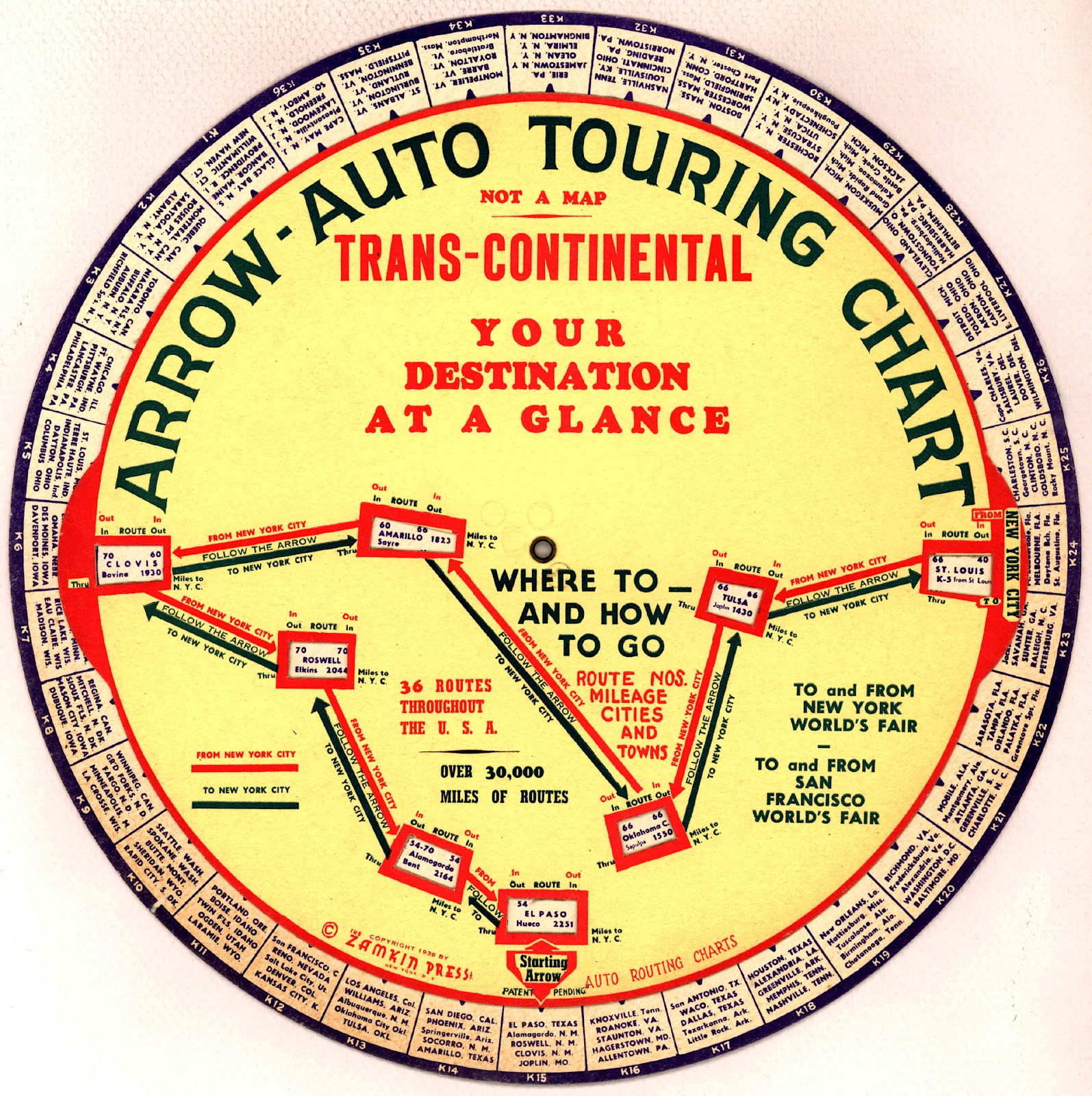 Before the garmin or tom tom the 1939 arrow auto touring chart