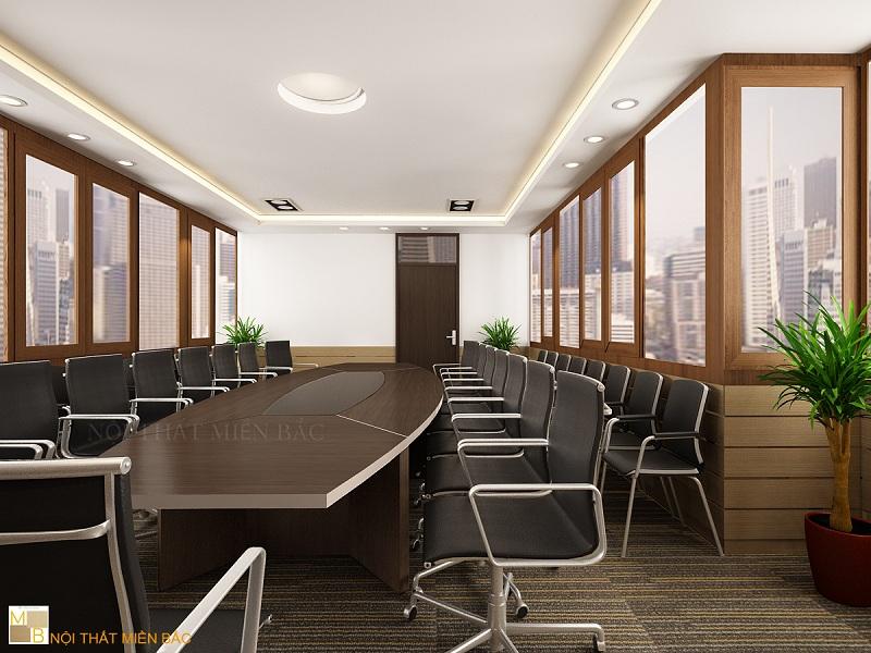 Thiết kế nội thất phòng họp đẹp thoáng mát với vách ngăn kính