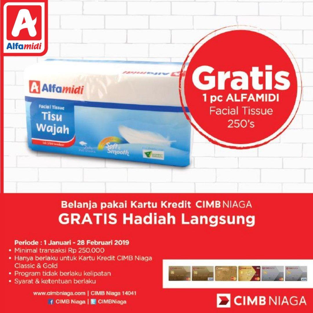 #Alfamidi - #Promo Pakai Kartu Kredit CIMB GRATIS 1 Facial Tissue 250's (s.d 28 Feb 2019)